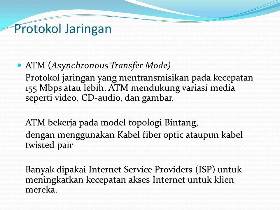 Protokol Jaringan ATM (Asynchronous Transfer Mode) Protokol jaringan yang mentransmisikan pada kecepatan 155 Mbps atau lebih. ATM mendukung variasi me