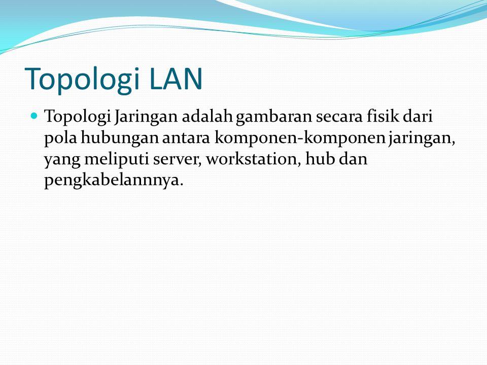 Topologi LAN Topologi Jaringan adalah gambaran secara fisik dari pola hubungan antara komponen-komponen jaringan, yang meliputi server, workstation, h