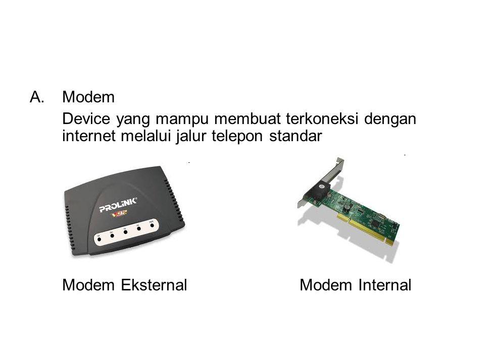 A.Modem Device yang mampu membuat terkoneksi dengan internet melalui jalur telepon standar Modem Eksternal Modem Internal