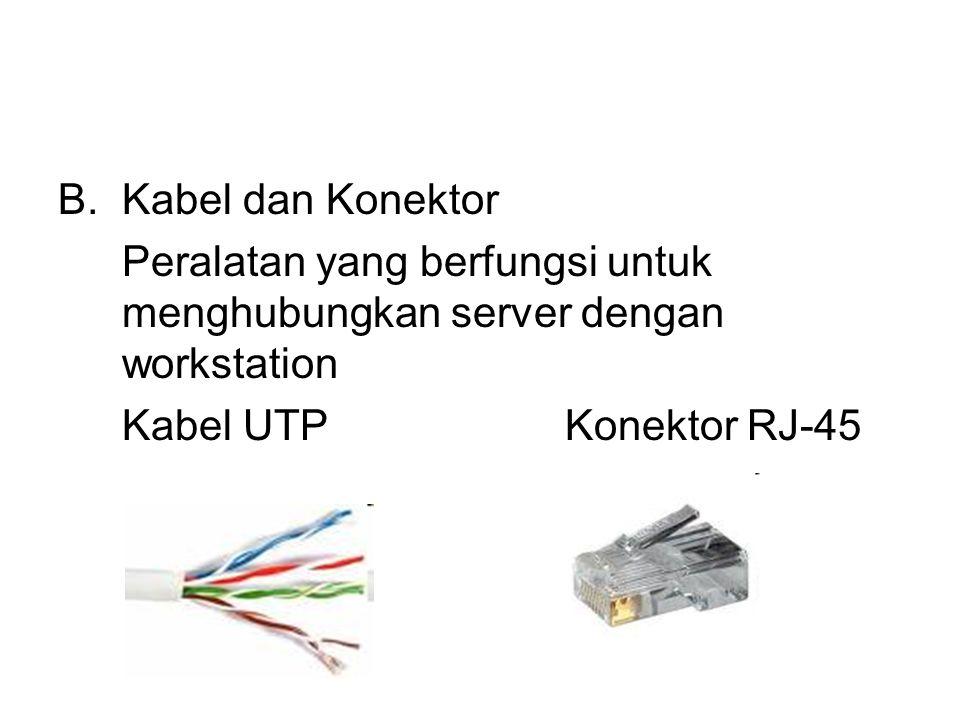 B.Kabel dan Konektor Peralatan yang berfungsi untuk menghubungkan server dengan workstation Kabel UTP Konektor RJ-45