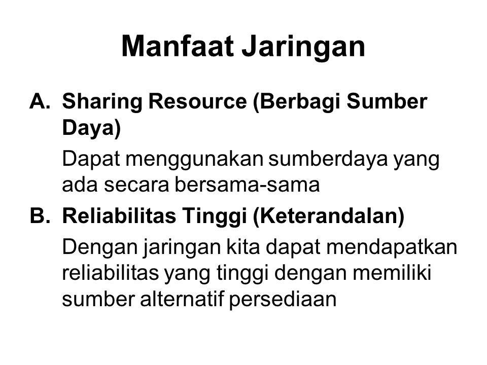 Manfaat Jaringan A.Sharing Resource (Berbagi Sumber Daya) Dapat menggunakan sumberdaya yang ada secara bersama-sama B.Reliabilitas Tinggi (Keterandalan) Dengan jaringan kita dapat mendapatkan reliabilitas yang tinggi dengan memiliki sumber alternatif persediaan