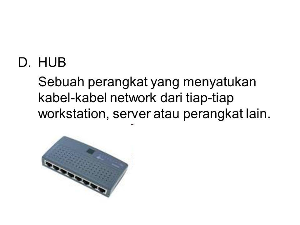 D.HUB Sebuah perangkat yang menyatukan kabel-kabel network dari tiap-tiap workstation, server atau perangkat lain.