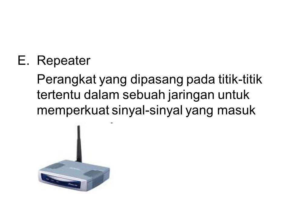 E.Repeater Perangkat yang dipasang pada titik-titik tertentu dalam sebuah jaringan untuk memperkuat sinyal-sinyal yang masuk