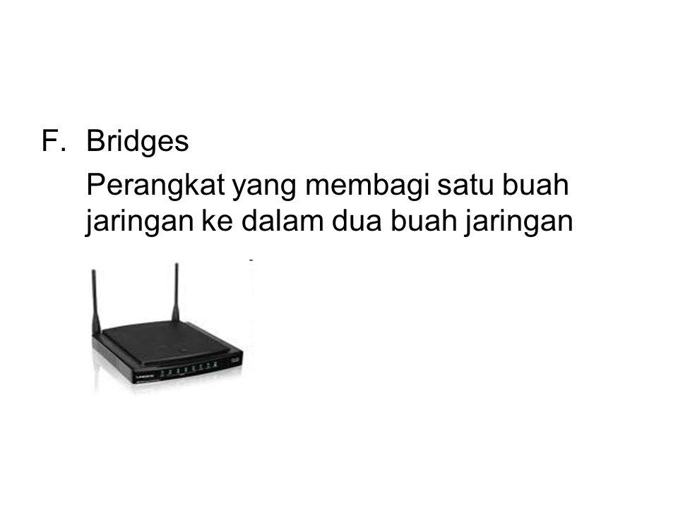 F.Bridges Perangkat yang membagi satu buah jaringan ke dalam dua buah jaringan