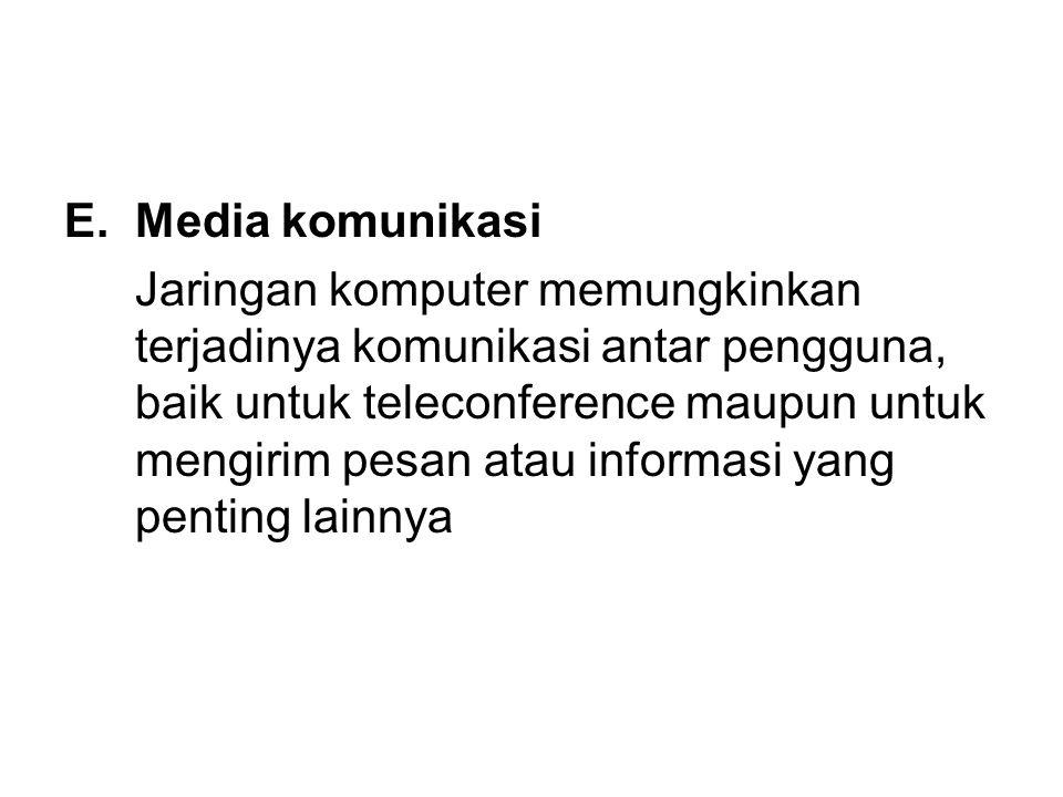 E.Media komunikasi Jaringan komputer memungkinkan terjadinya komunikasi antar pengguna, baik untuk teleconference maupun untuk mengirim pesan atau informasi yang penting lainnya