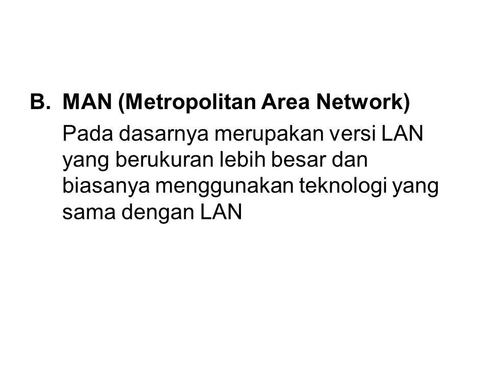 B.MAN (Metropolitan Area Network) Pada dasarnya merupakan versi LAN yang berukuran lebih besar dan biasanya menggunakan teknologi yang sama dengan LAN
