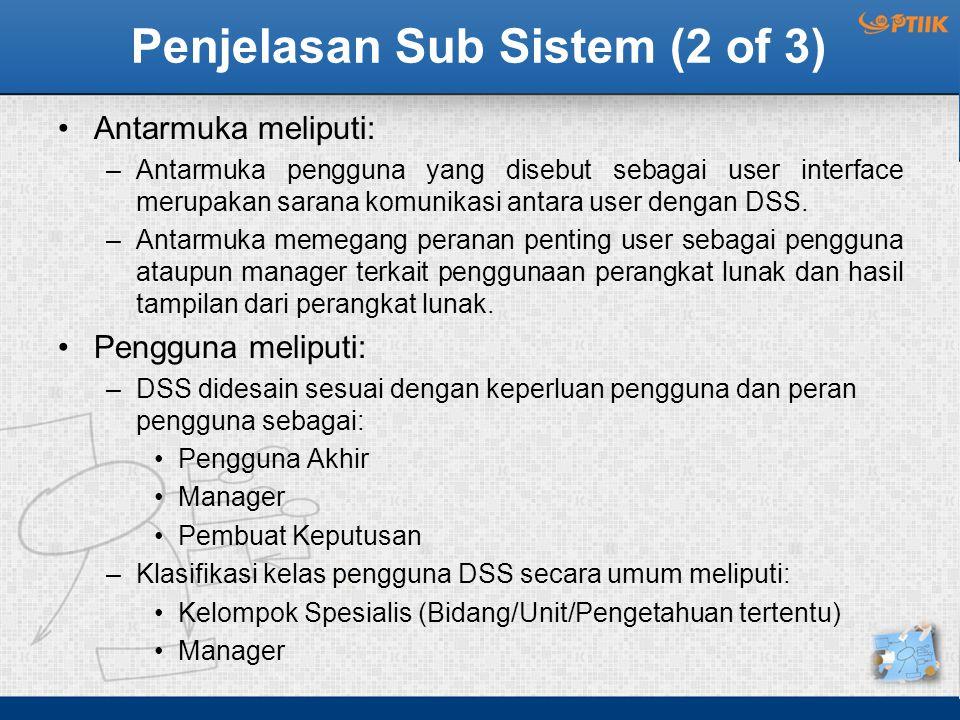 Penjelasan Sub Sistem (2 of 3) Antarmuka meliputi: –Antarmuka pengguna yang disebut sebagai user interface merupakan sarana komunikasi antara user dengan DSS.
