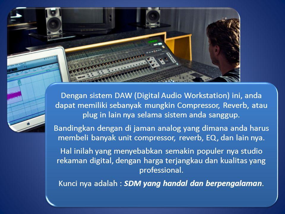 Dengan sistem DAW (Digital Audio Workstation) ini, anda dapat memiliki sebanyak mungkin Compressor, Reverb, atau plug in lain nya selama sistem anda s