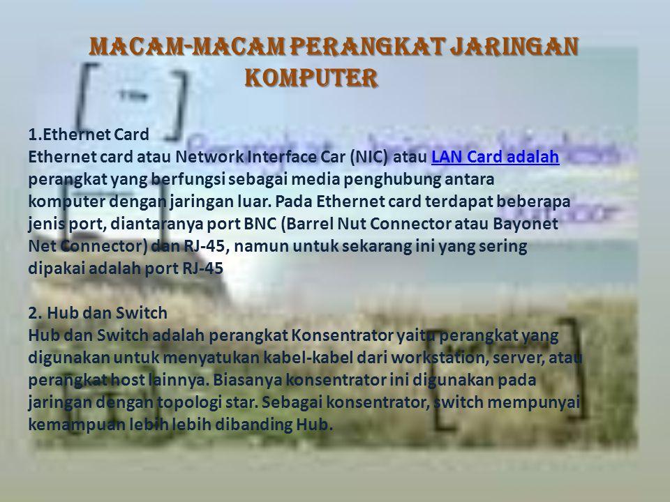 Macam-Macam Perangkat Jaringan Komputer Macam-Macam Perangkat Jaringan Komputer 1.Ethernet Card Ethernet card atau Network Interface Car (NIC) atau LAN Card adalahLAN Card adalah perangkat yang berfungsi sebagai media penghubung antara komputer dengan jaringan luar.