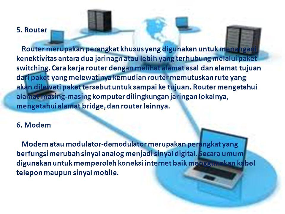 5. Router Router merupakan perangkat khusus yang digunakan untuk menangani kenektivitas antara dua jarinagn atau lebih yang terhubung melalui paket sw