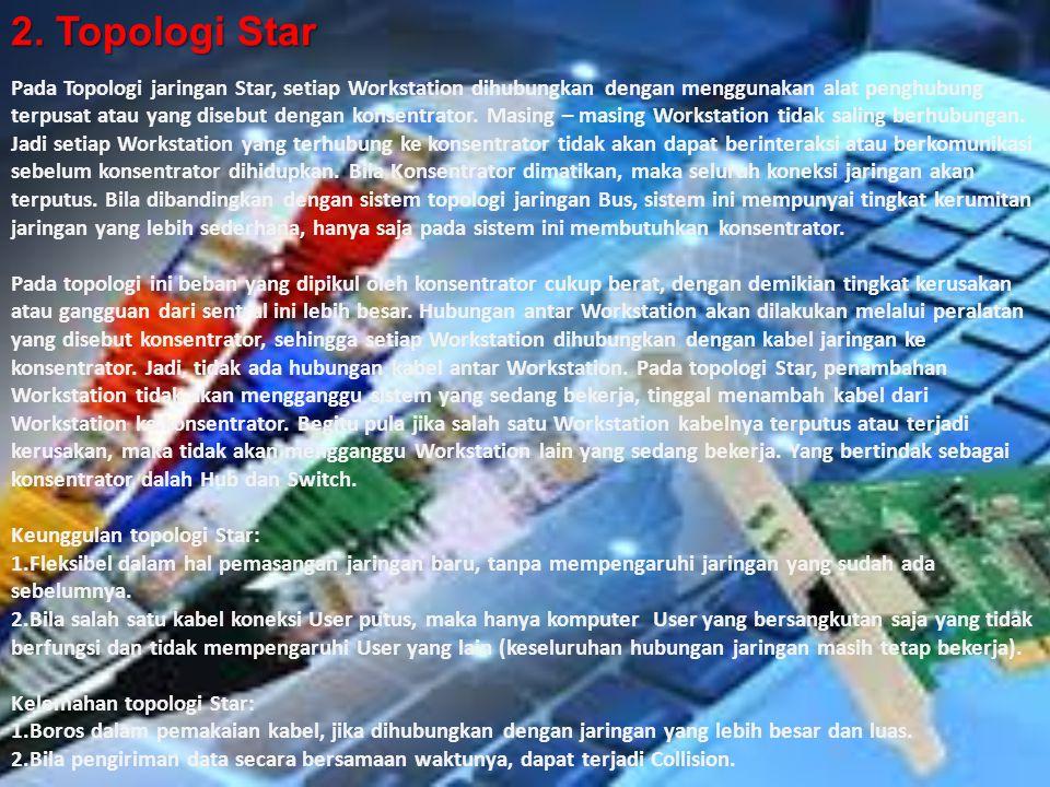 2. Topologi Star Pada Topologi jaringan Star, setiap Workstation dihubungkan dengan menggunakan alat penghubung terpusat atau yang disebut dengan kons