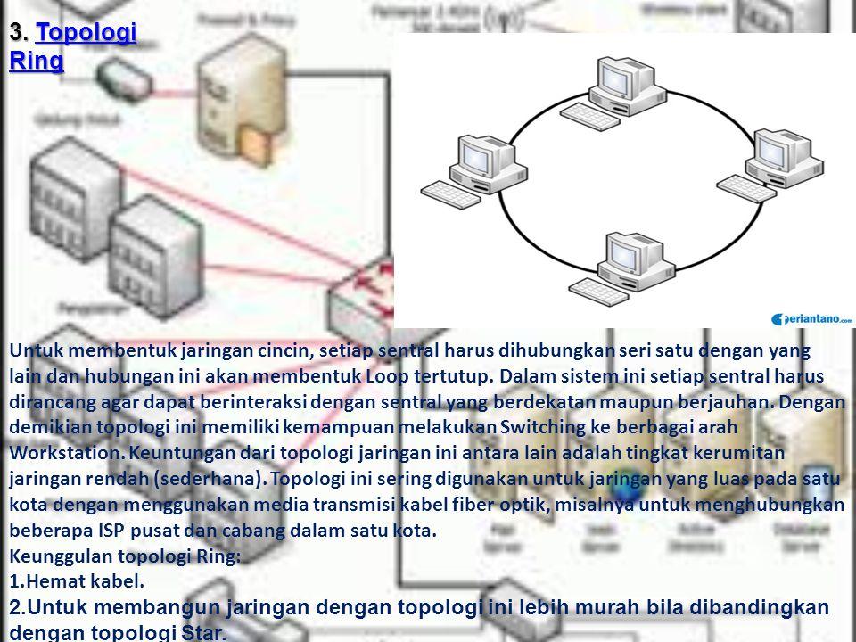 3. Topologi Ring Topologi RingTopologi Ring Untuk membentuk jaringan cincin, setiap sentral harus dihubungkan seri satu dengan yang lain dan hubungan