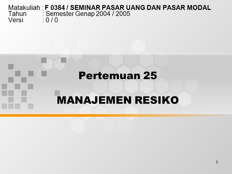 1 Pertemuan 25 MANAJEMEN RESIKO Matakuliah : F 0384 / SEMINAR PASAR UANG DAN PASAR MODAL Tahun : Semester Genap 2004 / 2005 Versi : 0 / 0