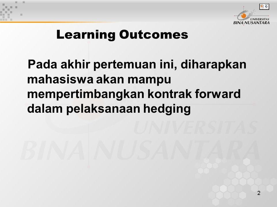 2 Learning Outcomes Pada akhir pertemuan ini, diharapkan mahasiswa akan mampu mempertimbangkan kontrak forward dalam pelaksanaan hedging