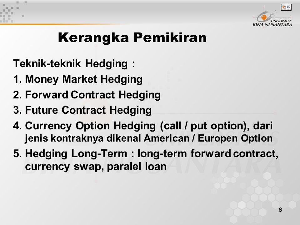 6 Kerangka Pemikiran Teknik-teknik Hedging : 1.Money Market Hedging 2.Forward Contract Hedging 3.Future Contract Hedging 4.Currency Option Hedging (ca