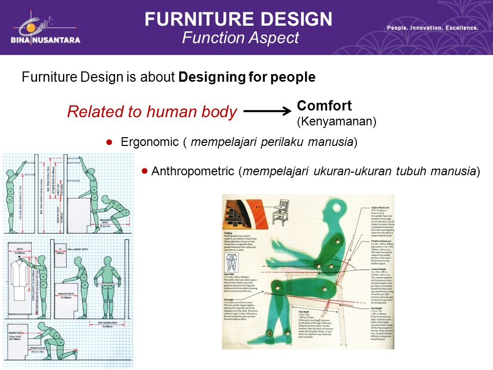 FURNITURE DESIGN Function Aspect Furniture Design is about Designing for people Related to human body Ergonomic ( mempelajari perilaku manusia) Anthro