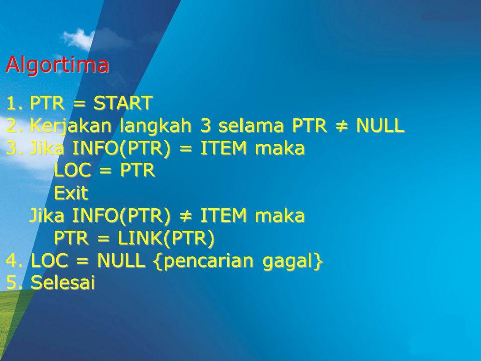 1.PTR = START 2.Kerjakan langkah 3 selama PTR ≠ NULL 3.Jika INFO(PTR) = ITEM maka LOC = PTR Exit Jika INFO(PTR) ≠ ITEM maka PTR = LINK(PTR) 4.