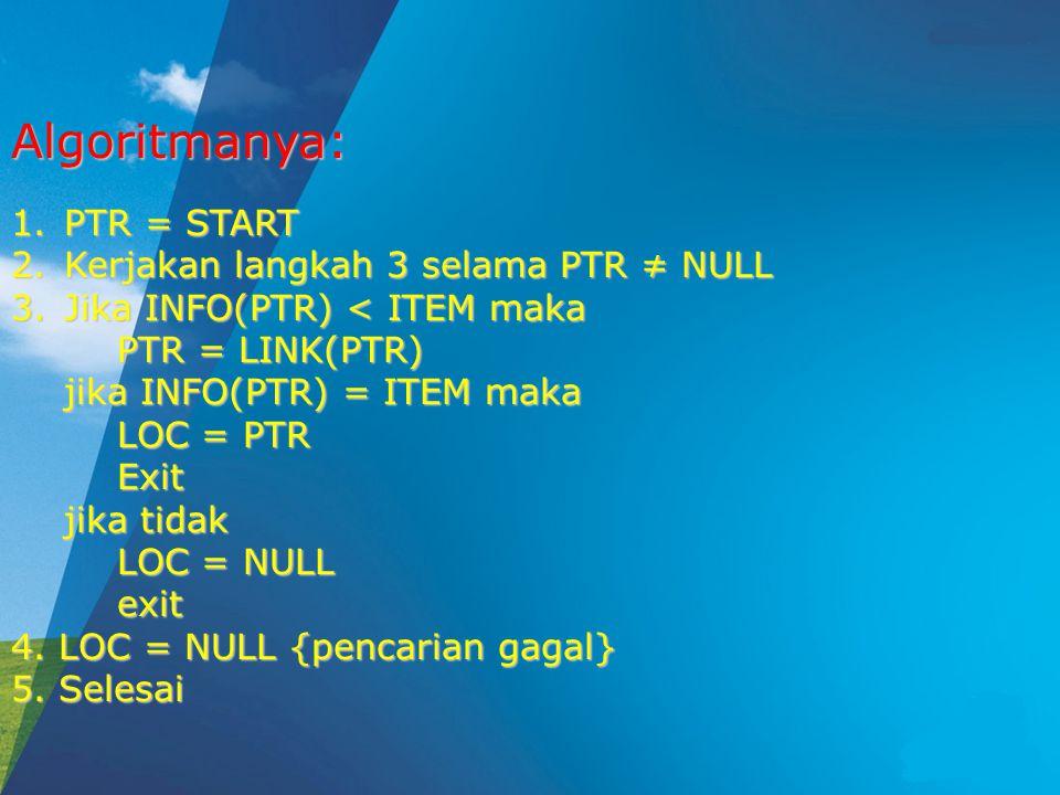 1.PTR = START 2.Kerjakan langkah 3 selama PTR ≠ NULL 3.Jika INFO(PTR) < ITEM maka PTR = LINK(PTR) jika INFO(PTR) = ITEM maka LOC = PTR Exit jika tidak LOC = NULL exit 4.