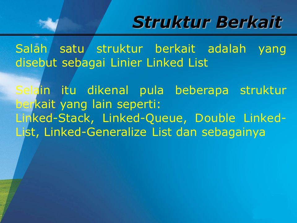 Struktur Berkait Salah satu struktur berkait adalah yang disebut sebagai Linier Linked List Selain itu dikenal pula beberapa struktur berkait yang lain seperti: Linked-Stack, Linked-Queue, Double Linked- List, Linked-Generalize List dan sebagainya