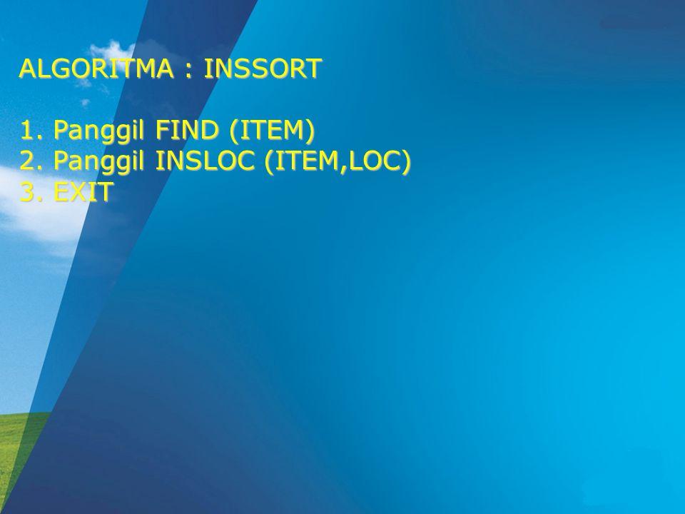 ALGORITMA : INSSORT 1.Panggil FIND (ITEM) 2.Panggil INSLOC (ITEM,LOC) 3.EXIT