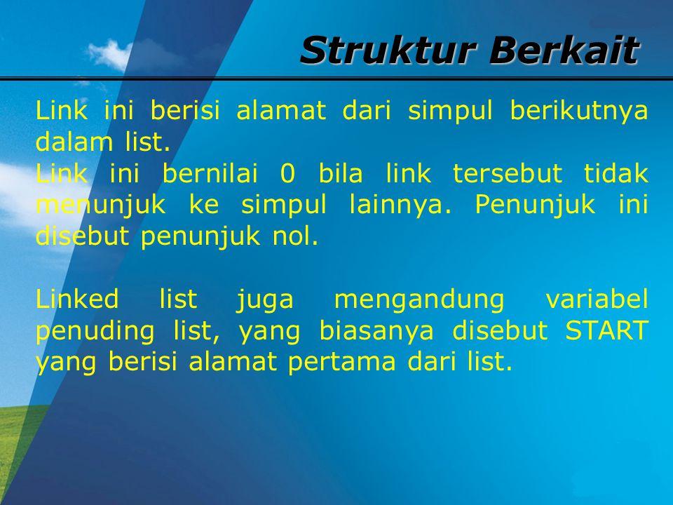 Struktur Berkait START Hal khusus dapat terjadi dimana list tidak mengandung sebuah simpulpun.