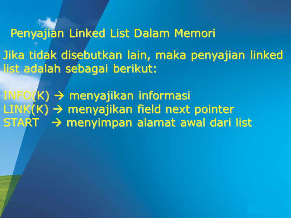 ALGORITMA : DELLAST PTR=START 1.Ulangi langkah 3 hingga PTR=NULL 2.LOCP=PTR PTR=LINK(PTR) 4.LINK(LOCP)=NULL 5.LINK(PTR)=AVAIL AVAIL=PTR 6.EXIT Penghapusan Simpul