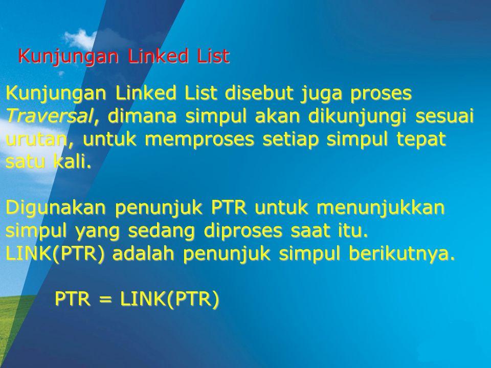 Kunjungan Linked List Kunjungan Linked List disebut juga proses Traversal, dimana simpul akan dikunjungi sesuai urutan, untuk memproses setiap simpul tepat satu kali.