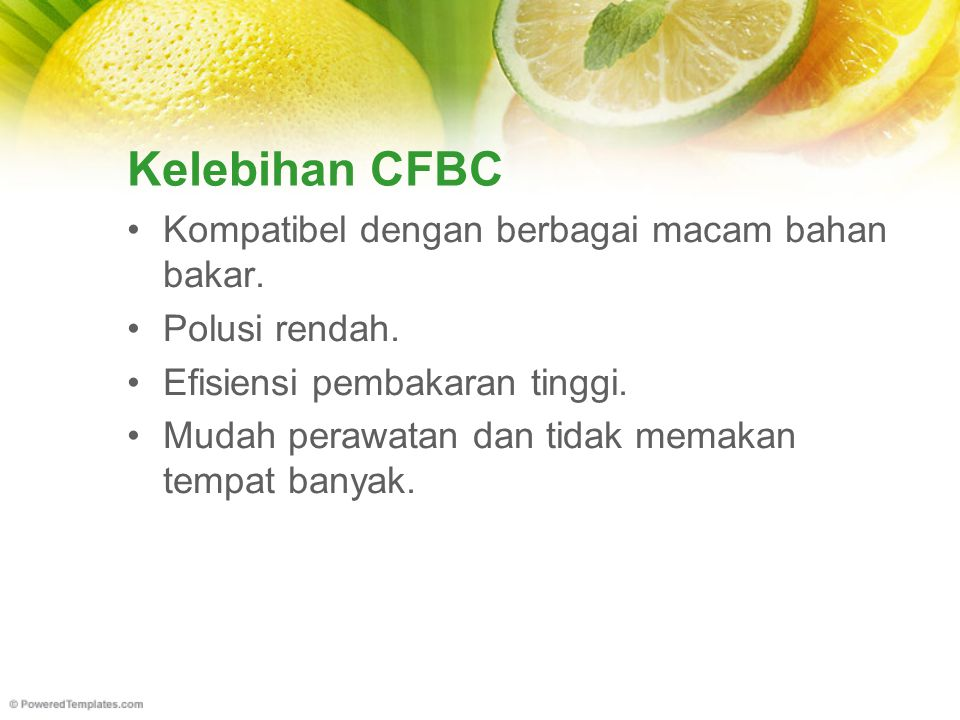 Kelebihan CFBC Kompatibel dengan berbagai macam bahan bakar. Polusi rendah. Efisiensi pembakaran tinggi. Mudah perawatan dan tidak memakan tempat bany