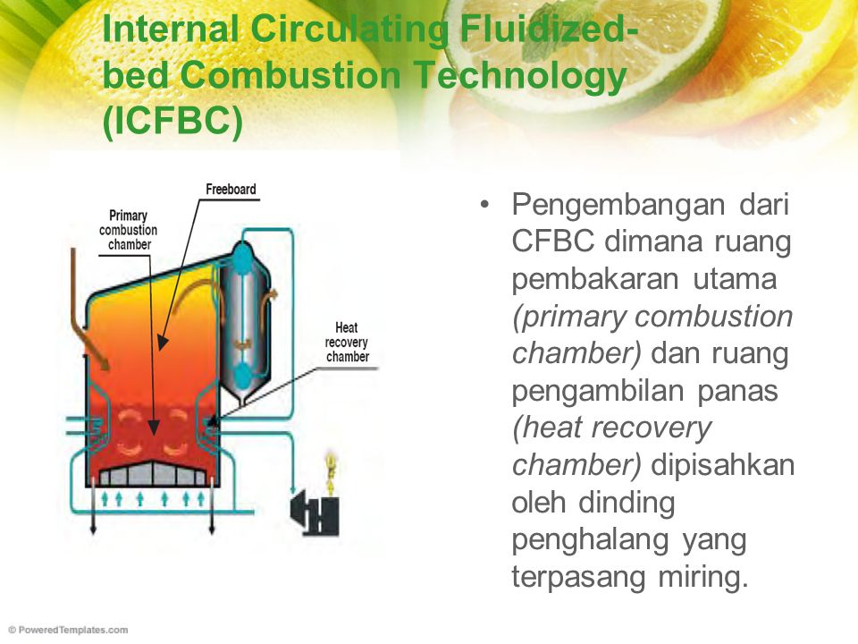 Internal Circulating Fluidized- bed Combustion Technology (ICFBC) Pengembangan dari CFBC dimana ruang pembakaran utama (primary combustion chamber) da