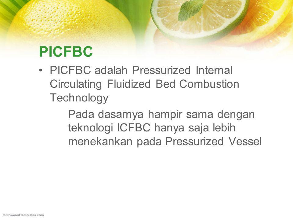 PICFBC PICFBC adalah Pressurized Internal Circulating Fluidized Bed Combustion Technology Pada dasarnya hampir sama dengan teknologi ICFBC hanya saja lebih menekankan pada Pressurized Vessel