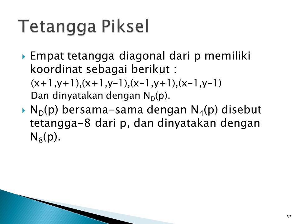  Empat tetangga diagonal dari p memiliki koordinat sebagai berikut : (x+1,y+1),(x+1,y-1),(x-1,y+1),(x-1,y-1) Dan dinyatakan dengan N D (p).