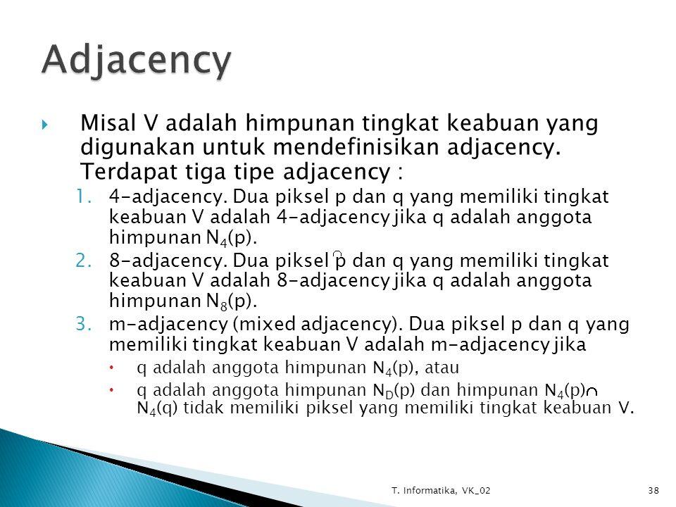  Misal V adalah himpunan tingkat keabuan yang digunakan untuk mendefinisikan adjacency.