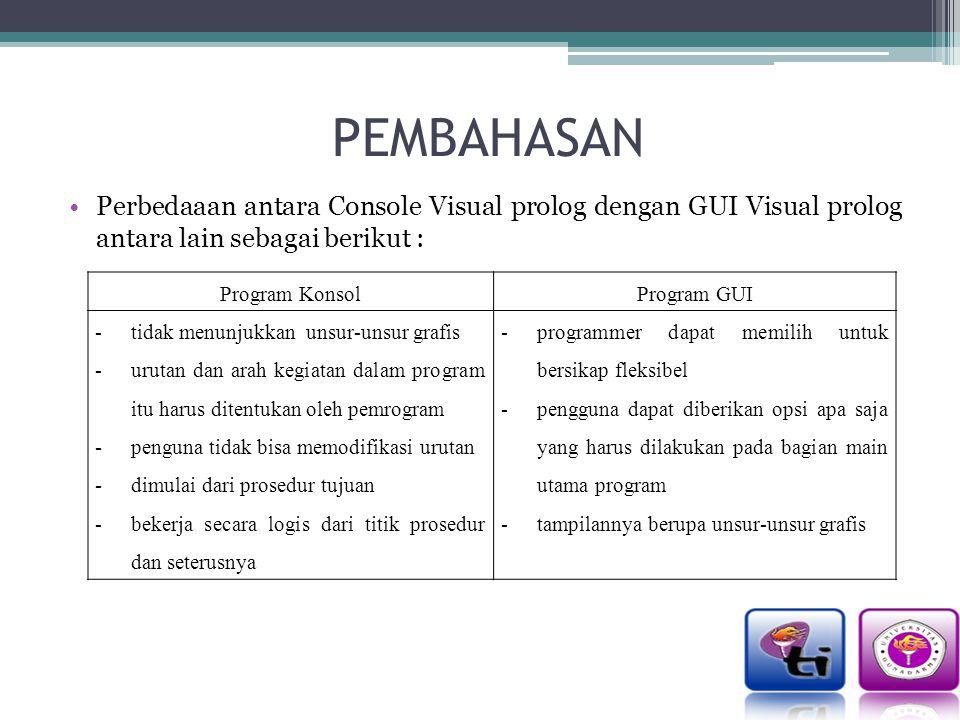PEMBAHASAN Perbedaaan antara Console Visual prolog dengan GUI Visual prolog antara lain sebagai berikut : Program KonsolProgram GUI -tidak menunjukkan unsur-unsur grafis -urutan dan arah kegiatan dalam program itu harus ditentukan oleh pemrogram -penguna tidak bisa memodifikasi urutan -dimulai dari prosedur tujuan -bekerja secara logis dari titik prosedur dan seterusnya -programmer dapat memilih untuk bersikap fleksibel -pengguna dapat diberikan opsi apa saja yang harus dilakukan pada bagian main utama program -tampilannya berupa unsur-unsur grafis