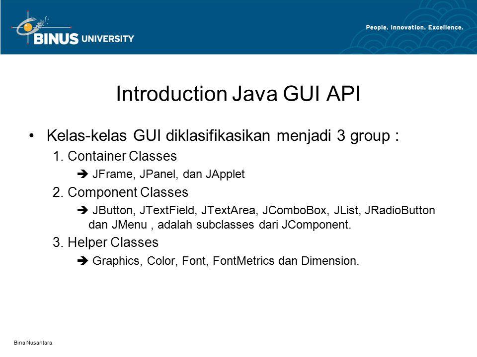 Bina Nusantara Swing vs AWT AWT (Abstract Windows Toolkit) –Baik untuk pengembangan simple graphical user interface –Kurang cocok untuk pengembangan GUI Projector.