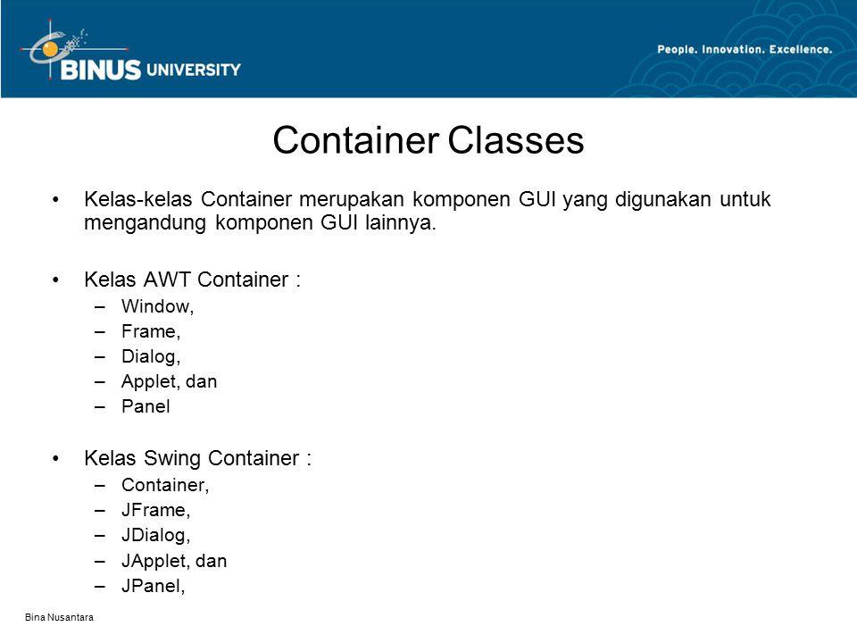 Bina Nusantara Container Classes Kelas-kelas Container merupakan komponen GUI yang digunakan untuk mengandung komponen GUI lainnya. Kelas AWT Containe
