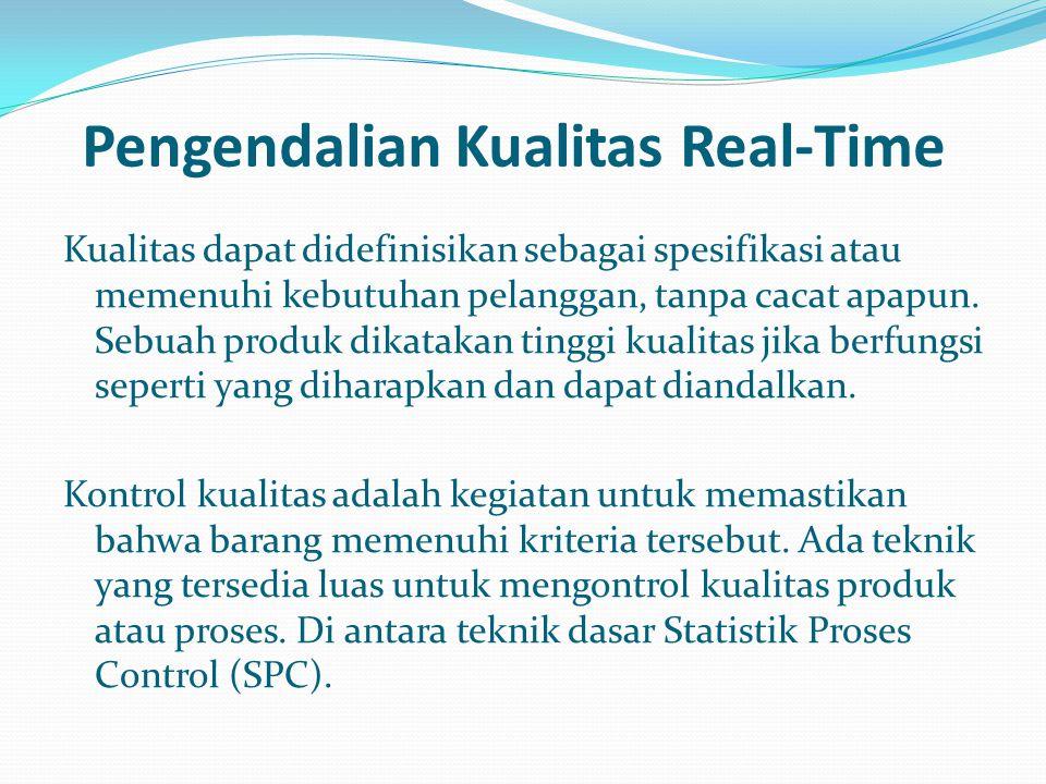 Pengendalian Kualitas Real-Time Kualitas dapat didefinisikan sebagai spesifikasi atau memenuhi kebutuhan pelanggan, tanpa cacat apapun. Sebuah produk