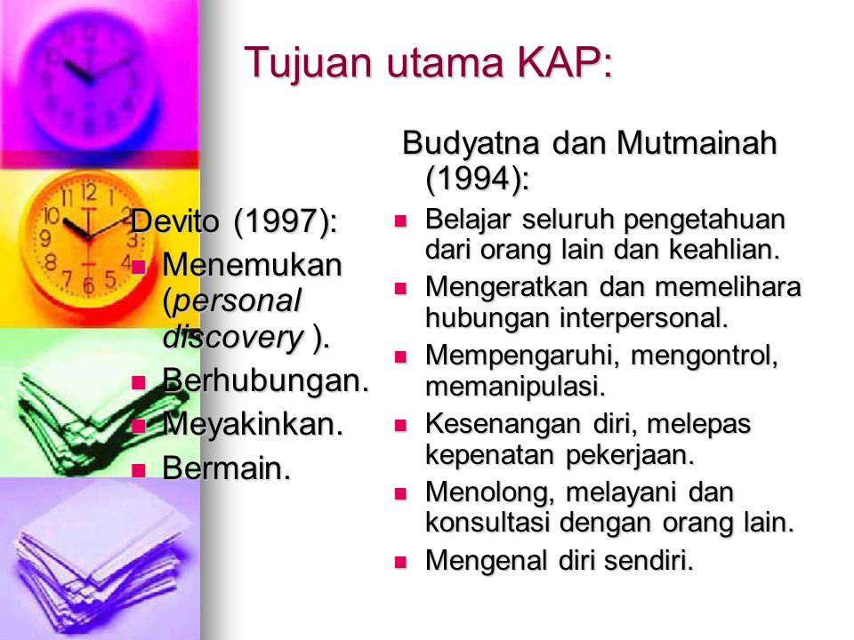 Tujuan utama KAP: Devito (1997): Menemukan (personal discovery ). Menemukan (personal discovery ). Berhubungan. Berhubungan. Meyakinkan. Meyakinkan. B