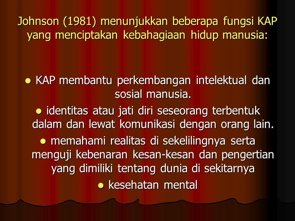 Johnson (1981) menunjukkan beberapa fungsi KAP yang menciptakan kebahagiaan hidup manusia: KAP membantu perkembangan intelektual dan sosial manusia. K