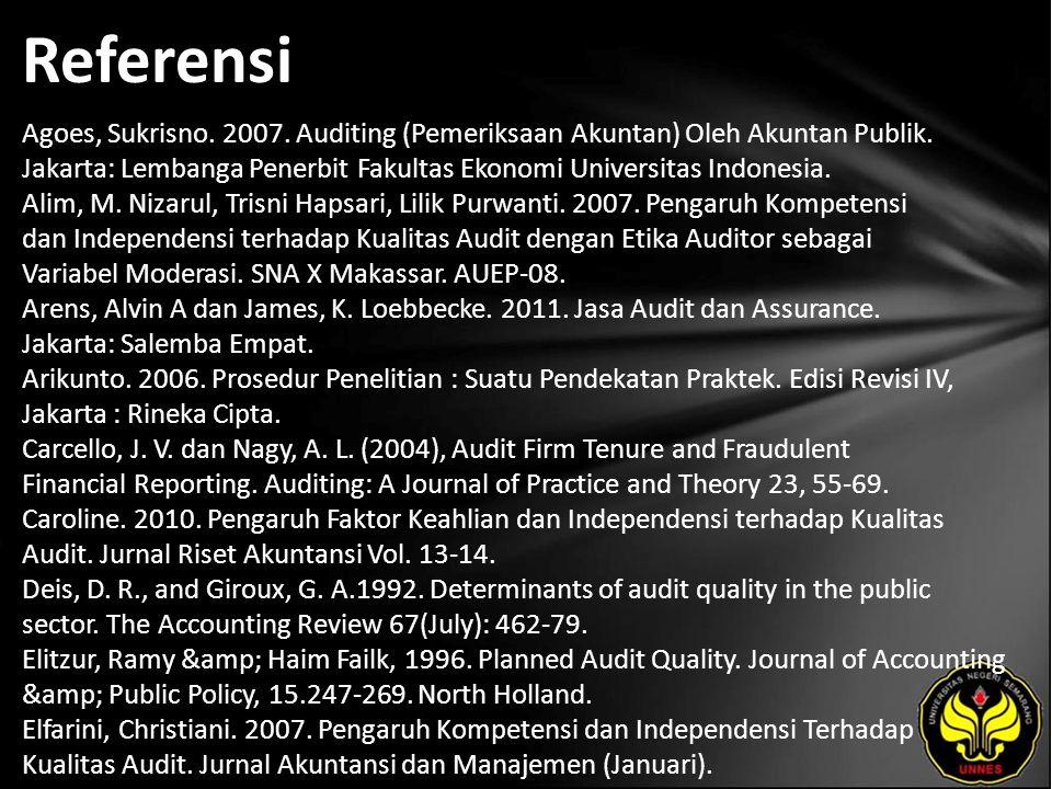 Referensi Agoes, Sukrisno. 2007. Auditing (Pemeriksaan Akuntan) Oleh Akuntan Publik.