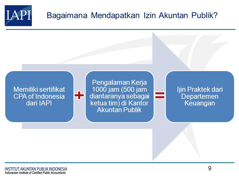 Bagaimana Mendapatkan Izin Akuntan Publik? Memiliki sertifikat CPA of Indonesia dari IAPI Pengalaman Kerja 1000 jam (500 jam diantaranya sebagai ketua