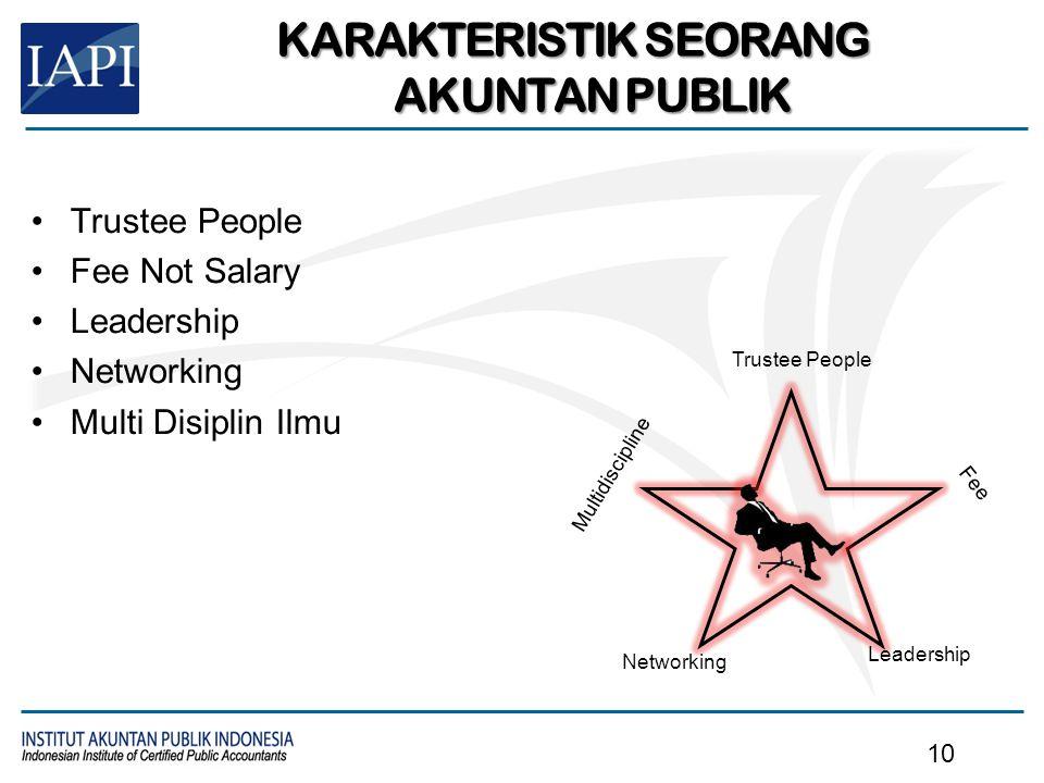 Trustee People Fee Not Salary Leadership Networking Multi Disiplin Ilmu KARAKTERISTIK SEORANG AKUNTAN PUBLIK Trustee People Fee Leadership Networking