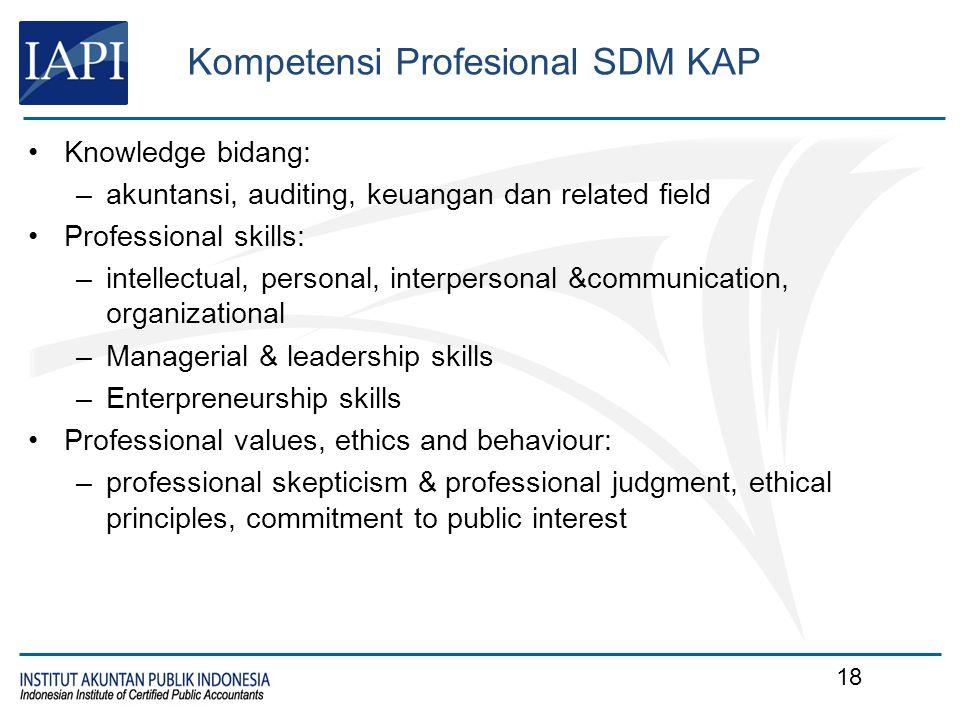 Kompetensi Profesional SDM KAP Knowledge bidang: –akuntansi, auditing, keuangan dan related field Professional skills: –intellectual, personal, interp