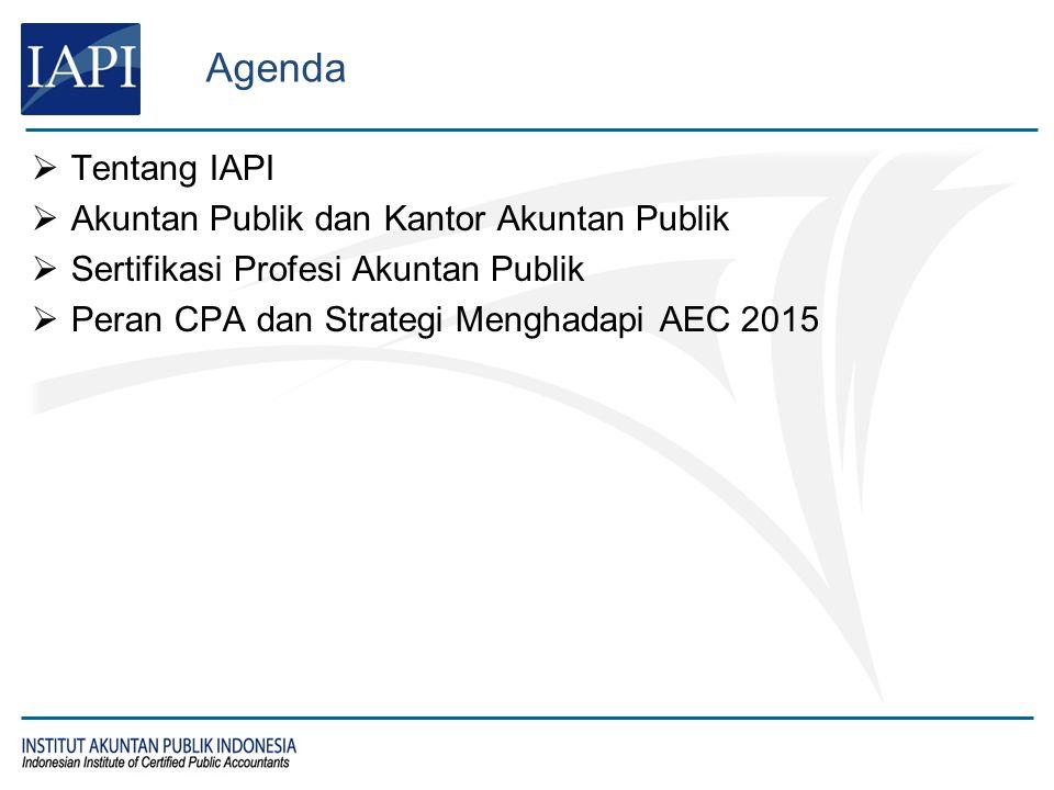 Agenda  Tentang IAPI  Akuntan Publik dan Kantor Akuntan Publik  Sertifikasi Profesi Akuntan Publik  Peran CPA dan Strategi Menghadapi AEC 2015