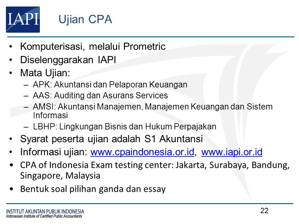 Ujian CPA Komputerisasi, melalui Prometric Diselenggarakan IAPI Mata Ujian: –APK: Akuntansi dan Pelaporan Keuangan –AAS: Auditing dan Asurans Services