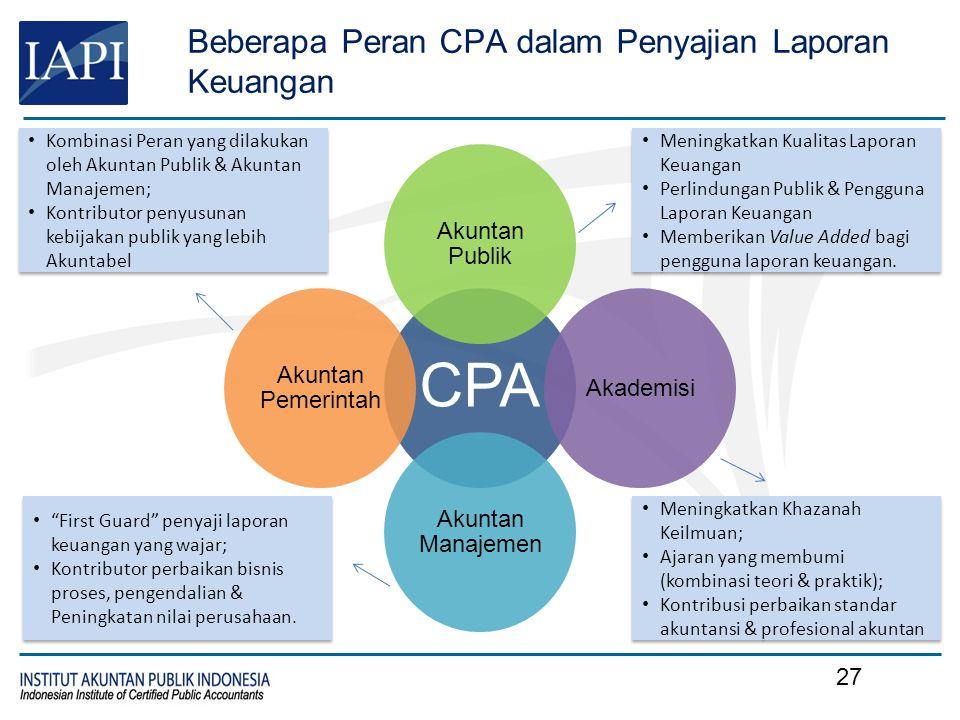 Beberapa Peran CPA dalam Penyajian Laporan Keuangan CPA Akuntan Publik Akademisi Akuntan Manajemen Akuntan Pemerintah Meningkatkan Kualitas Laporan Ke