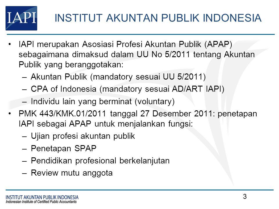 Tujuan IAPI Mewujudkan Akuntan Publik yang berintegritas, berkualitas dan berkompetensi berstandar internasional, mendorong pertumbuhan dan independensi profesi yang sehat dan kondusif bagi profesi Akuntan Publik, menjaga martabat profesi Akuntan Publik dan kepercayaan publik, melindungi kepentingan public dan Akuntan Publik, serta mendorong terwujudnya good governance di Indonesia.