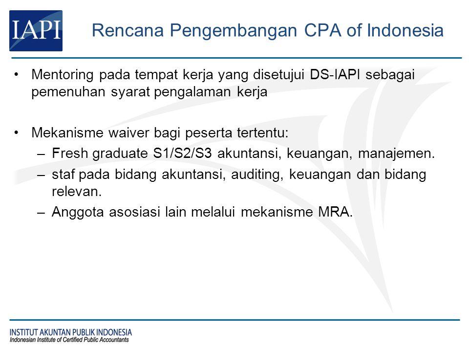 Rencana Pengembangan CPA of Indonesia Mentoring pada tempat kerja yang disetujui DS-IAPI sebagai pemenuhan syarat pengalaman kerja Mekanisme waiver ba
