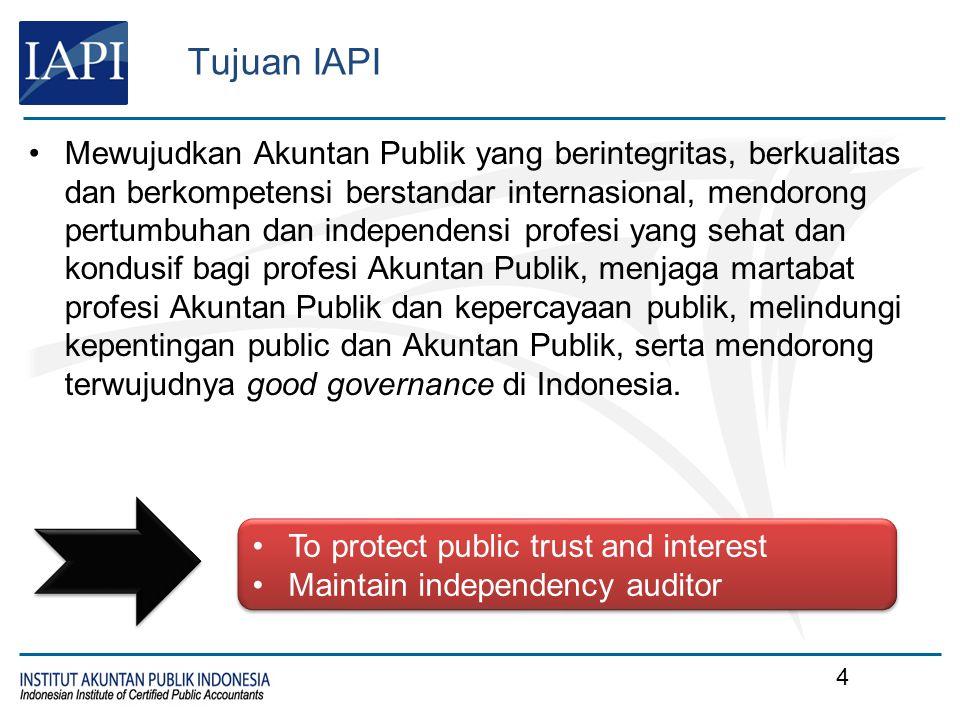 CPA of Indonesia KEWAJIBAN INDONESIA CPA: Mematuhi Kode Etik Profesi IAPI Mematuhi Standar Profesional Akuntan Publik Mengikuti Pendidikan Profesional Berkelanjutan yang ditetapkan IAPI Mematuhi Anggaran Dasar, Anggaran Rumah Tangga, Peraturan Organisasi dan ketentuan IAPI lainnya SANKSI PELANGGARAN: Sertifikat Indonesia CPA akan dianggap tidak berlaku dan pemegang sertifikat tidak berhak menggunakan sebutan Indonesia CPA apabila pemegang sertifikat telah melanggar ketentuan yang disyaratkan.