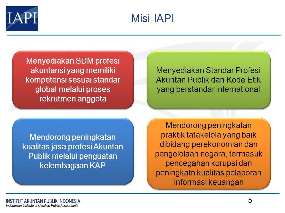 Misi IAPI Menyediakan SDM profesi akuntansi yang memiliki kompetensi sesuai standar global melalui proses rekrutmen anggota Menyediakan Standar Profes