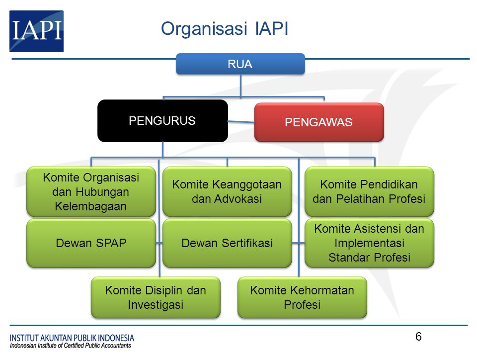 Organisasi IAPI PENGURUS PENGAWAS Dewan SPAP Komite Organisasi dan Hubungan Kelembagaan Komite Keanggotaan dan Advokasi Komite Pendidikan dan Pelatiha